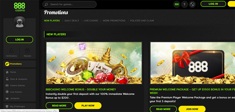 888 Casino Bonuses and Promotions